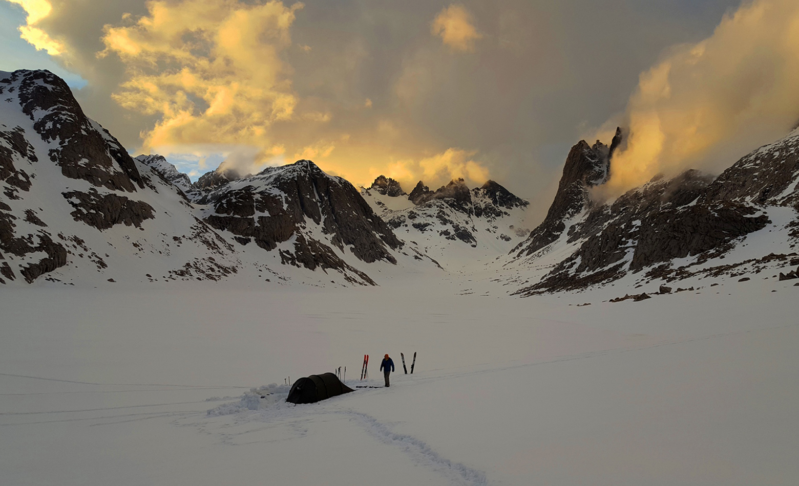 Camping and Ski Backpacking in the Wind River Range, Wyoming.