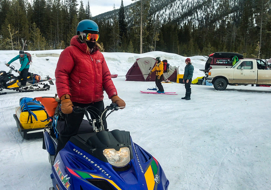 Winter float trips require a lot of gear, not to mention the snowmobiles to haul it all.