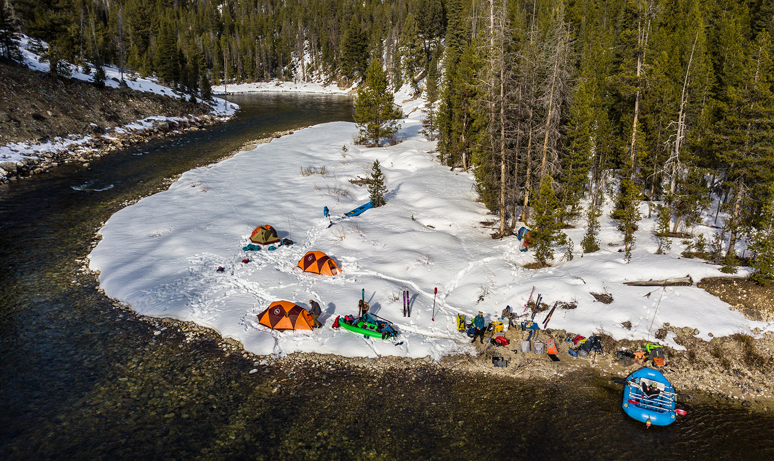 The Middle Fork has abundant designated campsites to park your raft and camp for the night.